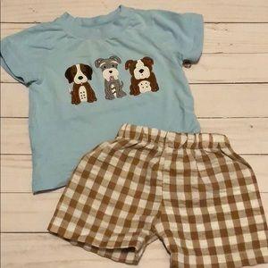 Other - Dog Appliqué short shirt set boy 9 months